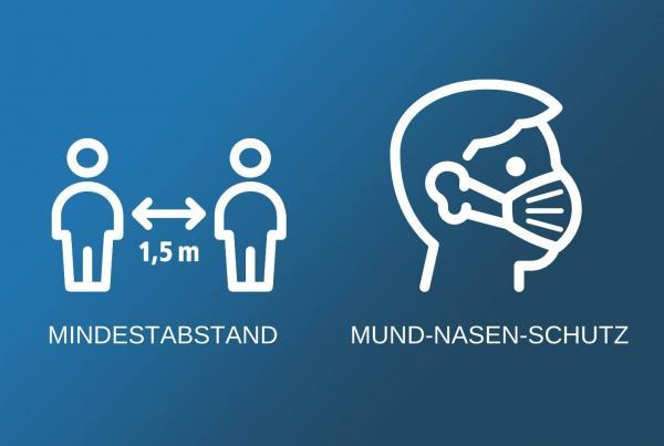 Infografik Mindestabstand und Mund-Nasen-Schutz